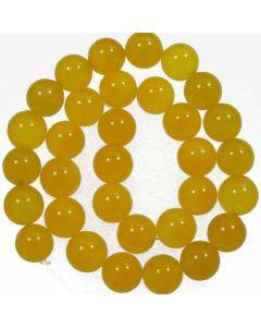 Malay Jade (Dyed Honey Yellow Quartzite) 12mm Round