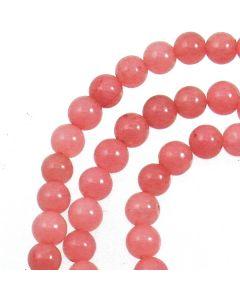 Malay Jade (Dyed Carnation Pink Quartzite) 4mm Round Beads