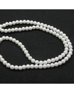 Mashan Jade (White) 4mm Round Beads