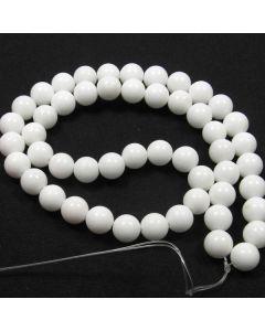 Mashan Jade (White) 8mm Round Beads 2