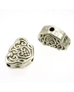 Tibetan 15x12x7mm 3-hole Bead (Pack 2) Silver Finish