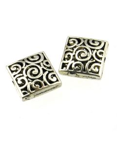 Tibetan 15x15x7mm  Bead (Pack 2) Silver Finish