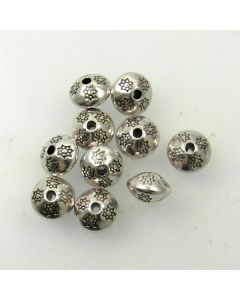 Tibetan 10.5 x 7.5mm Bead (Pack 10) Silver Finish