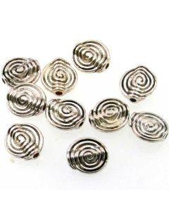 Tibetan 11x4mm Bead (Pack 10) Silver Finish
