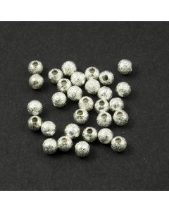 Brass Stardust Effect Beads 4mm (Pack 30) Silver Finish