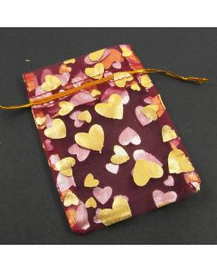 Organza Bags - Medium Dark Red with Gold Heart (Pack of Ten)