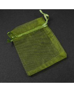 Organza Bags - Medium Plain Moss Green (Pack of Ten)