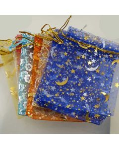 Medium Organza Bags - White with Silver Star/Moon Pattern (Pack of Ten)