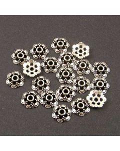 Tibetan 13.5mm Bead Cap (Pack 20) Silver Finish MB10