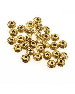 Tibetan 7x4.5mm Bead (Pack 30) Gold Finish MGB09
