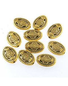 Tibetan 13x10x3mm Bead (Pack 10) Gold Finish MGB03