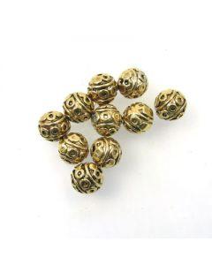 Tibetan 8mm Bead (Pack 10) Gold Finish MGB04