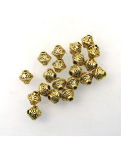 Tibetan 7x6mm Bead (Pack 20) Gold Finish MGB05