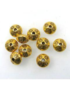 Tibetan 10.5 x 7.5mm Bead (Pack 10) Gold Finish MGB07