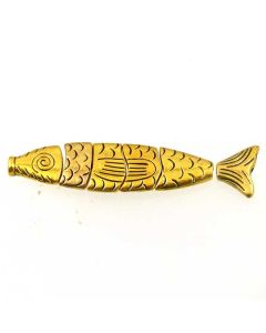Tibetan 72x17x5mm Fish Bead (Pack 6 pieces) Gold Finish