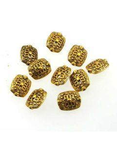 Tibetan 11x13x6.5mm Rectangle Bead (Pack 10) Gold Finish