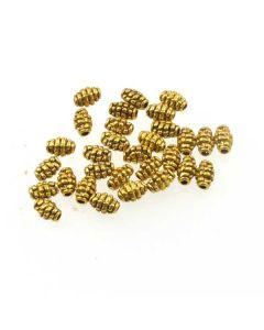 Tibetan 7x5mm Barrel Bead (Pack 30) Gold Finish MGB13
