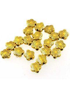 Tibetan 7x7x3mm Bead (Pack 30) Gold Finish