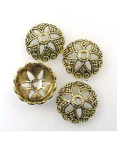 Tibetan 20x7mm Bead Cap (Pack 4) Gold Finish MGC05