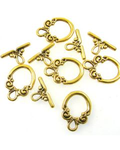 Tibetan Toggle Clasp (Pack 5) Gold Finish MGT02