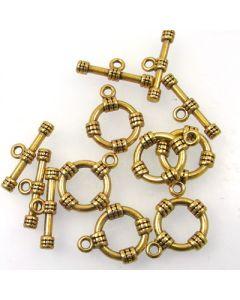 Tibetan Toggle Clasp (Pack 6) Gold Finish