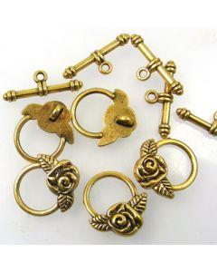 Tibetan Toggle Clasp (Pack 5) Gold Finish