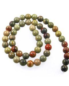 Silver Leaf Jasper 8mm Round Beads