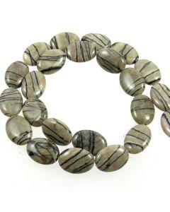 Black Veined Jasper 18x13mm Oval Beads