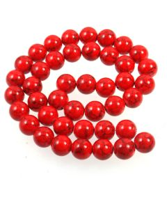 Turquoise (Reconstituted Dyed Red) 10mm Round Beads