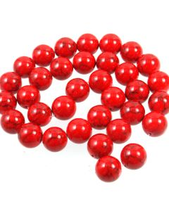 Turquoise (Reconstituted Dyed Red) 12mm Round Beads