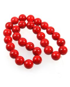Turquoise (Reconstituted Dyed Red) 14mm Round Beads