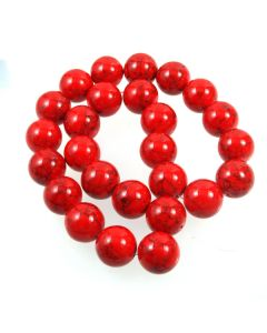 Turquoise (Reconstituted Dyed Red) 16mm Round Beads