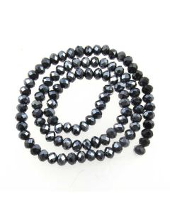 Black/Grey Faceted Glass Beads 4x6mm RONDELLE (approx 100 beads)