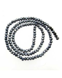 Black/Grey Faceted Glass Beads 3x4mm RONDELLE (approx 140 beads)