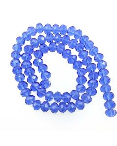 Sapphire Blue Faceted Glass Beads 6x8mm RONDELLE (approx 72 beads)