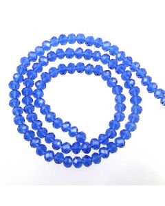 Sapphire Blue Faceted Glass Beads 4x6mm RONDELLE (approx 100 beads)