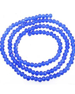 Sapphire Blue Faceted Glass Beads 3x4mm RONDELLE (approx 140 beads)