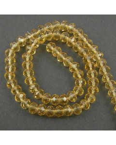Golden Champagne Faceted Glass Beads 6x8mm RONDELLE (approx 72 beads)