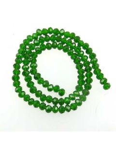 Dark Green Faceted Glass Beads 4x6mm RONDELLE (approx 100 beads)