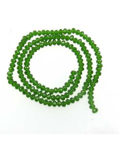 Dark Green Faceted Glass Beads 3x4mm RONDELLE (approx 140 beads)
