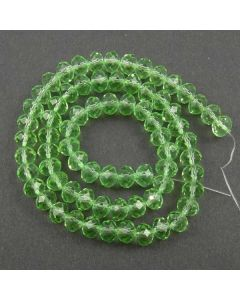 Peridot Green Faceted Glass Beads 6x8mm RONDELLE (approx 72 beads)