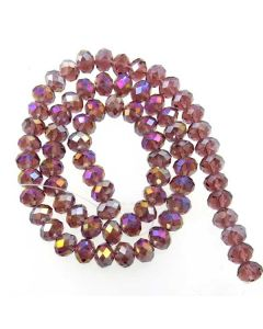 Plum AB  Faceted Glass Beads 6x8mm RONDELLE (approx 72 beads)