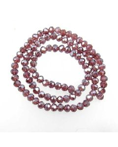 Plum AB  Faceted Glass Beads 4x6mm RONDELLE (approx 100 beads)