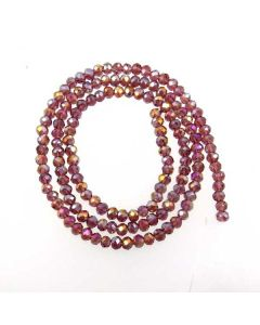 Plum AB  Faceted Glass Beads 3x4mm RONDELLE (approx 140 beads)