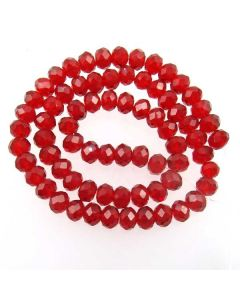 Deep Red Faceted Glass Beads 6x8mm RONDELLE (approx 72 beads)