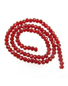 Deep Red Faceted Glass Beads 4x6mm RONDELLE (approx 100 beads)