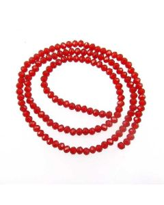 Deep Red Faceted Glass Beads 3x4mm RONDELLE (approx 140 beads)