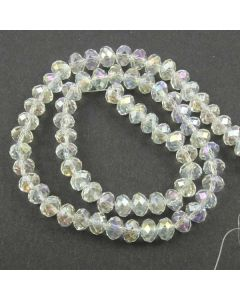 White AB  Faceted Glass Beads 6x8mm RONDELLE (approx 72 beads)