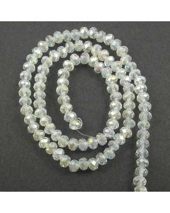 White AB  Faceted Glass Beads 4x6mm RONDELLE (approx 100 beads)