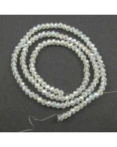 White AB  Faceted Glass Beads 3x4mm RONDELLE (approx 140 beads)